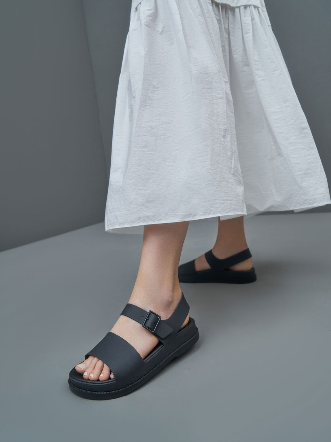 Buckle Strap Flatform Sandals, Black, hi-res