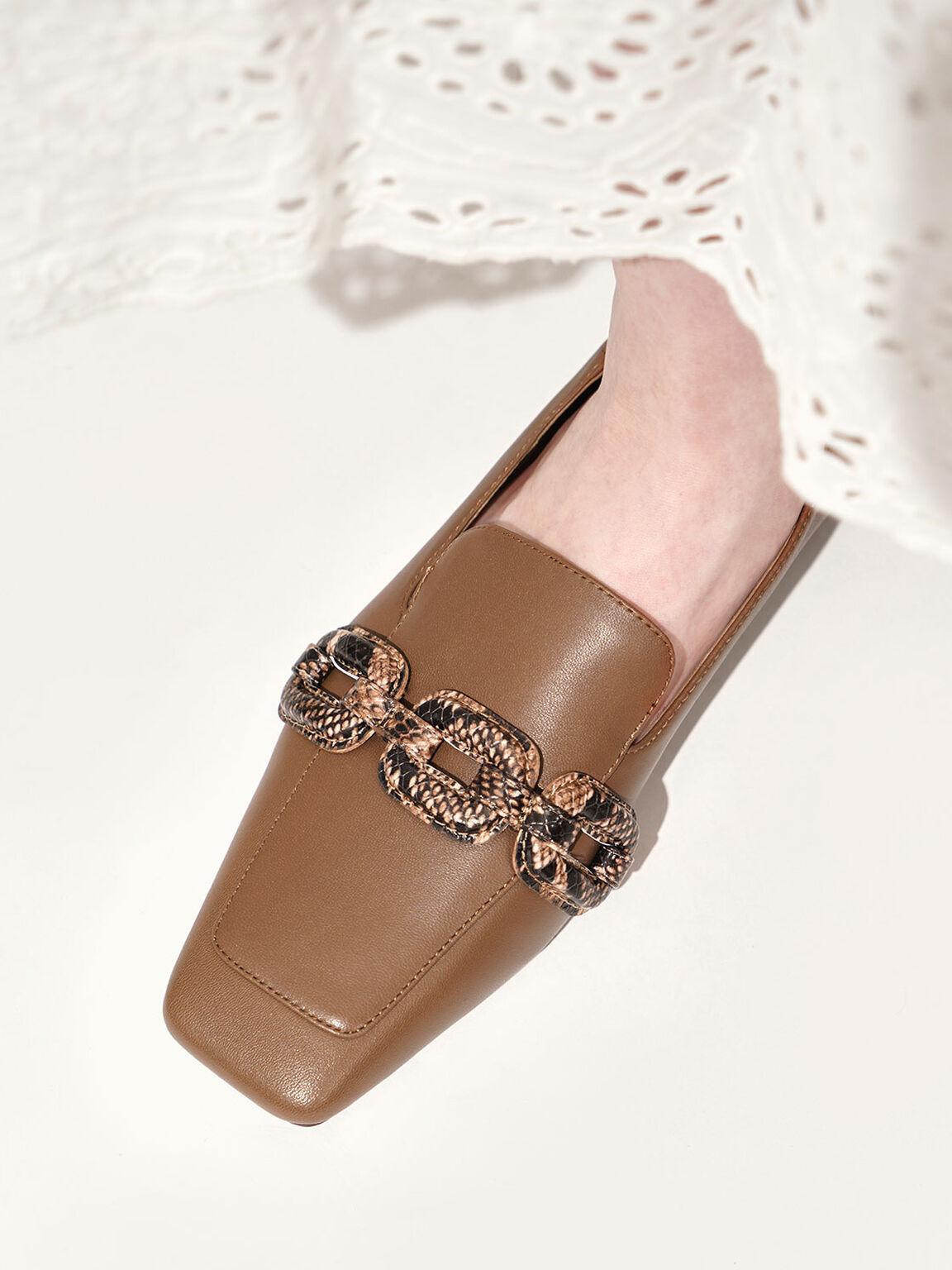 Leather Snake Print Step-Back Loafers, Brown, hi-res