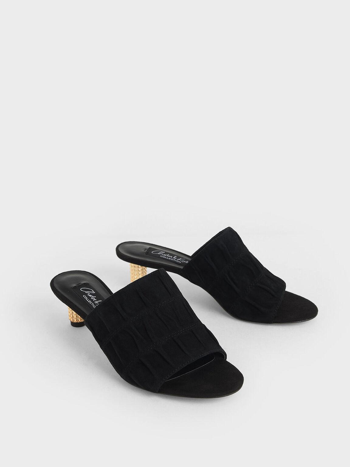 Embellished Heel Ruched Mules (Kid Suede), Black, hi-res