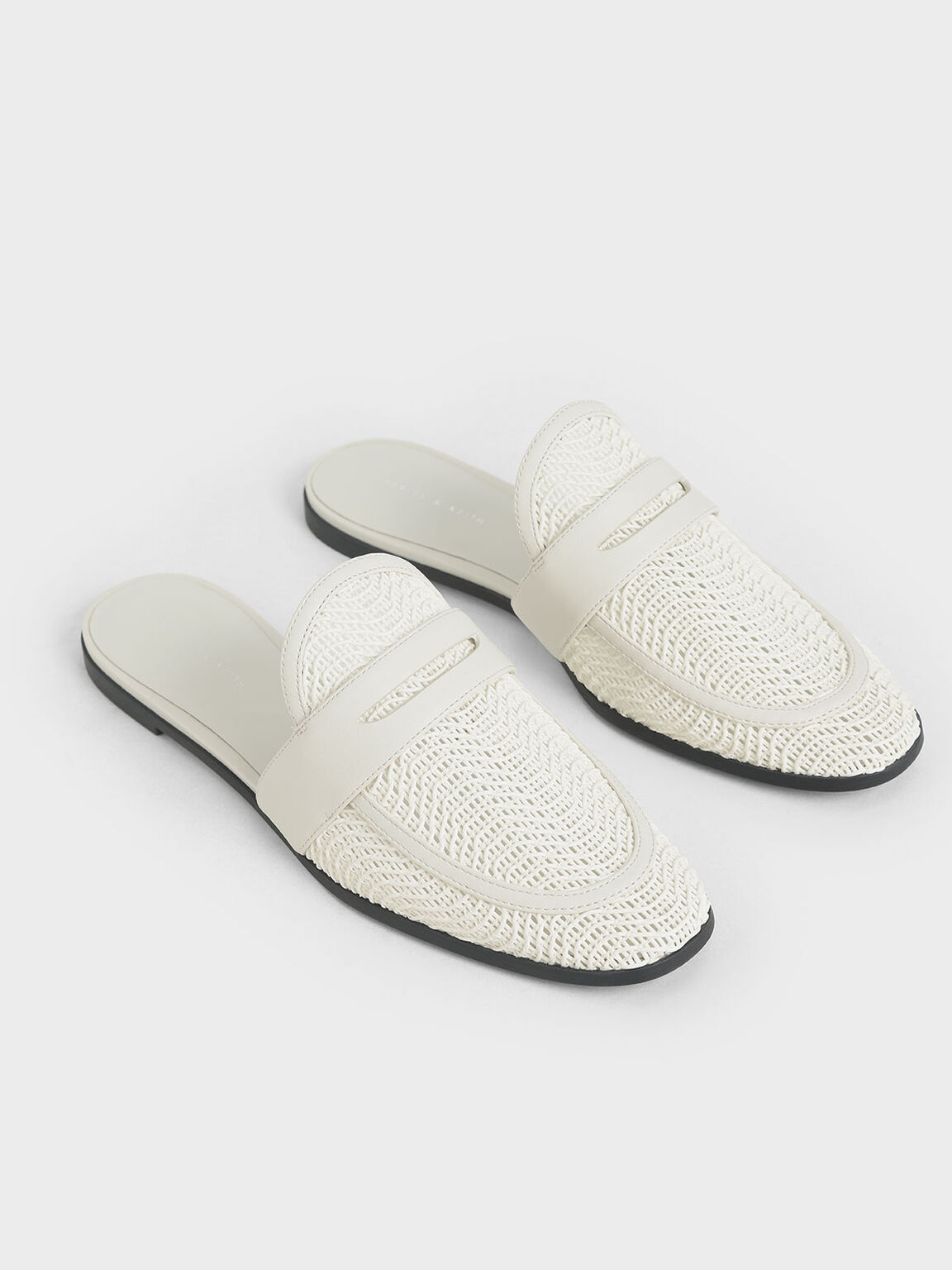 Woven Penny Loafer Mules, Chalk, hi-res