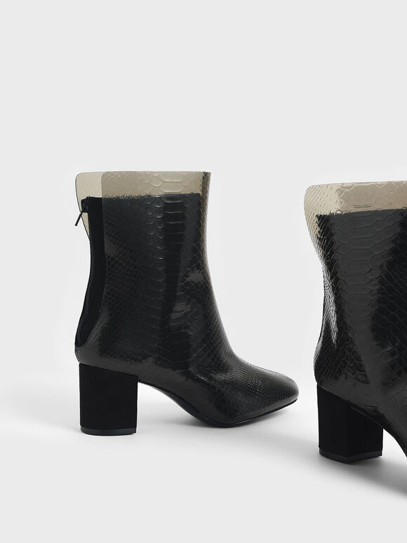 Snake Print See-Through Effect Block Heel Calf Boots, Black, hi-res