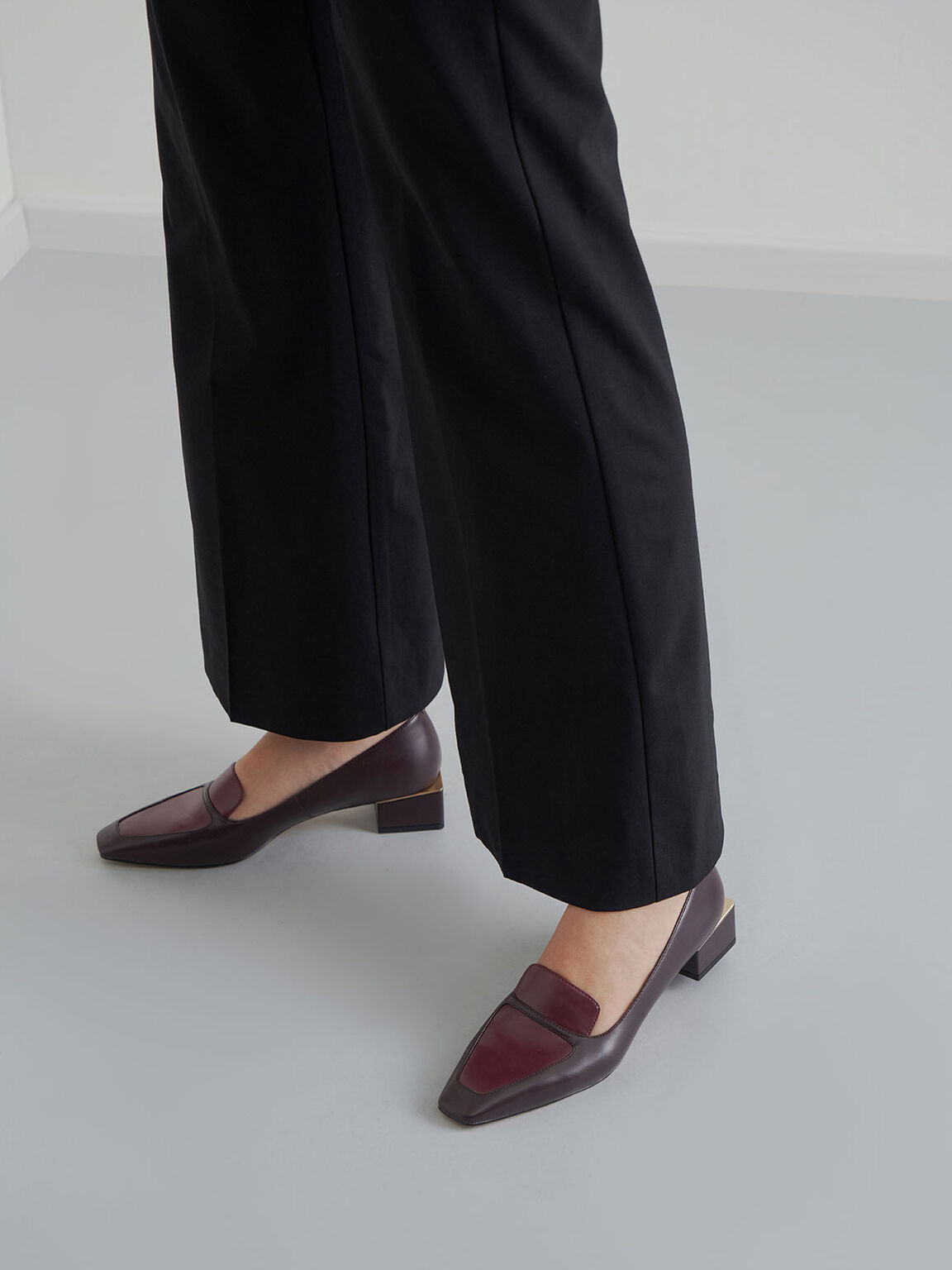 Block Heel Loafers, Burgundy, hi-res