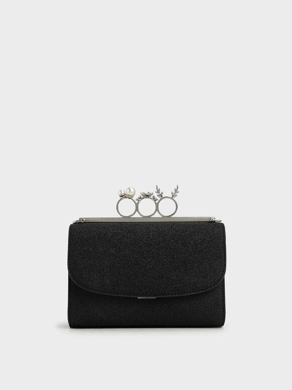 Glittered Knuckle-Ring Clutch, Black Textured, hi-res