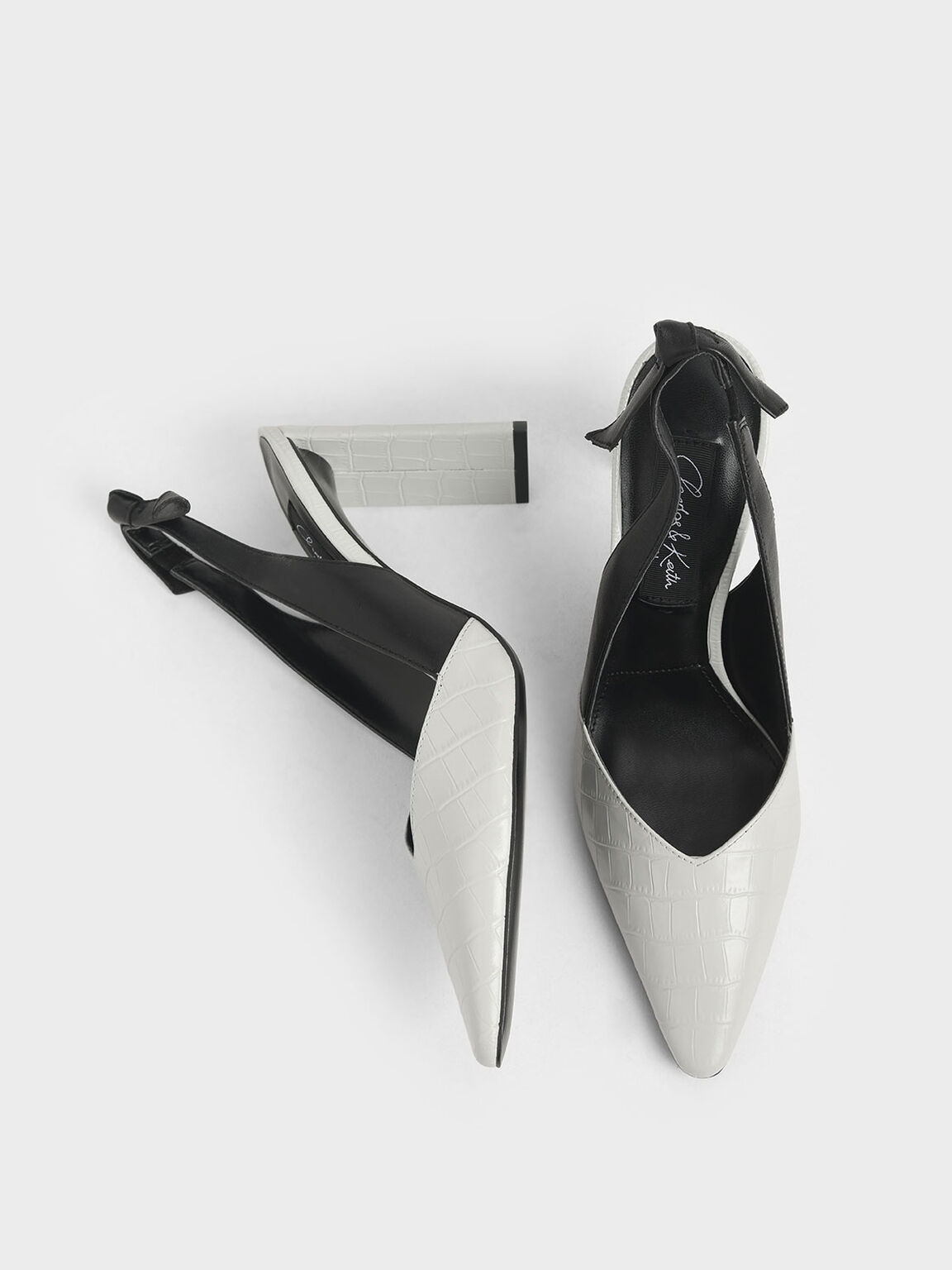 Leather Croc-Effect Bow-Slingback Heels, White, hi-res