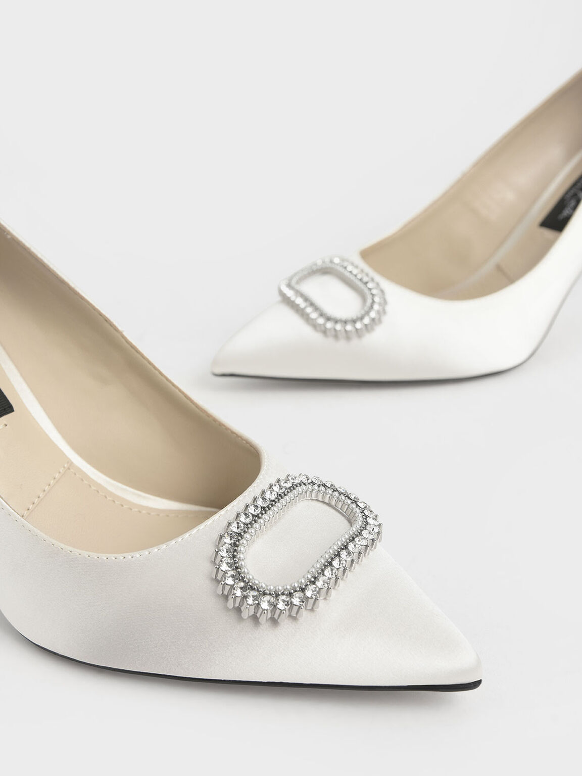 Wedding Collection: Satin Embellished Pumps, White, hi-res