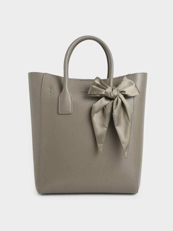 Bow Tote Bag, Taupe, hi-res