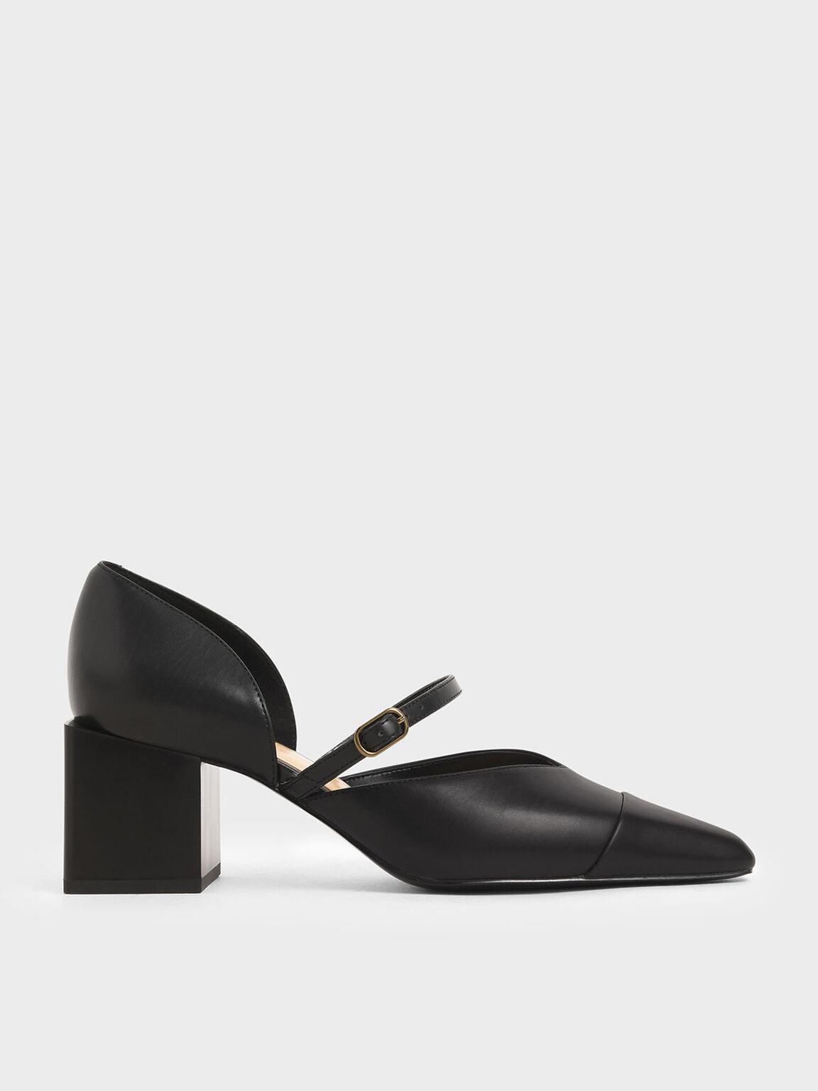 Mary Jane Block Heel Pumps, Black, hi-res