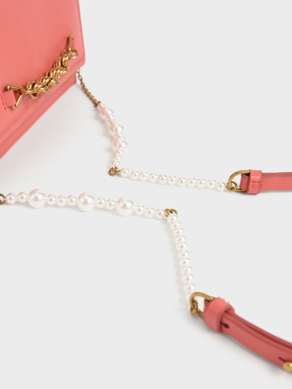 Top Handle Chain Link Long Wallet, Coral, hi-res