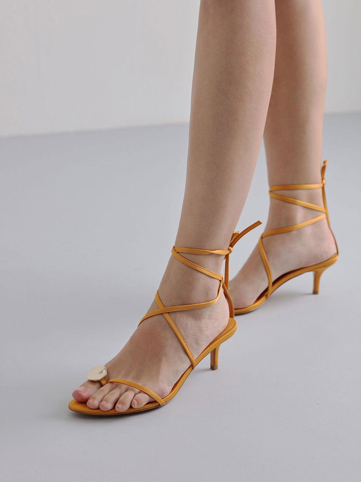 Metal Accent Satin Sandals, Mustard, hi-res