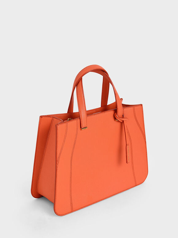 Double Top Handle Tote Bag, Orange, hi-res