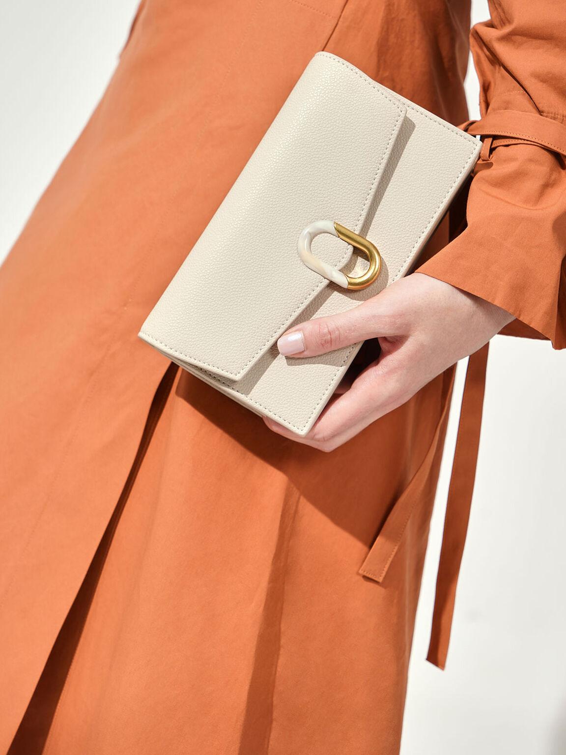 Stone-Embellished Envelope Wallet, Cream, hi-res