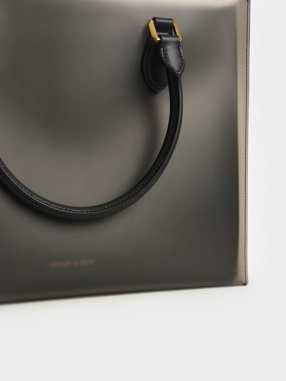 Woven Double Top Handle Bag, Black, hi-res