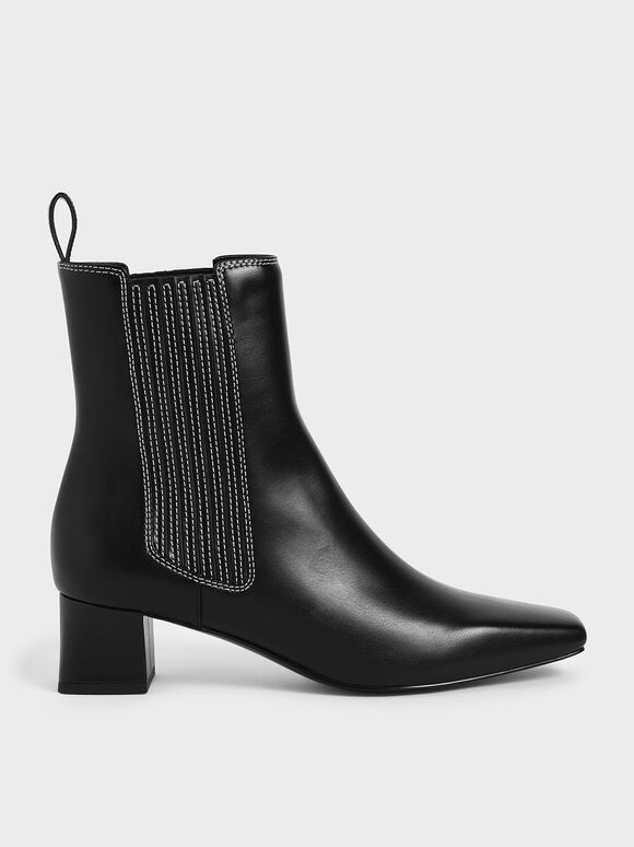 Stitch Trim Ankle Boots, Black, hi-res