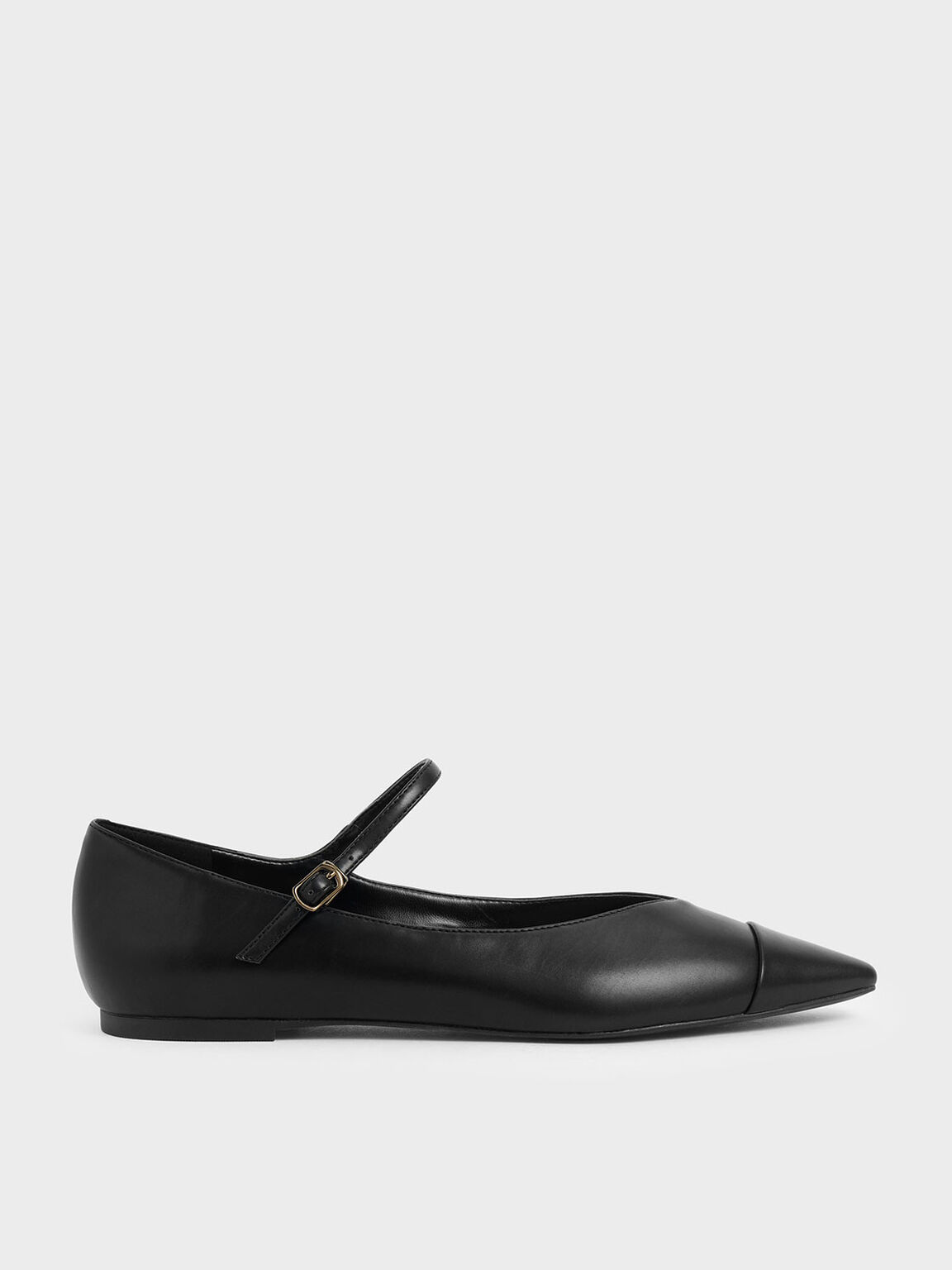 Pointed Toe Mary Jane Flats, Black, hi-res