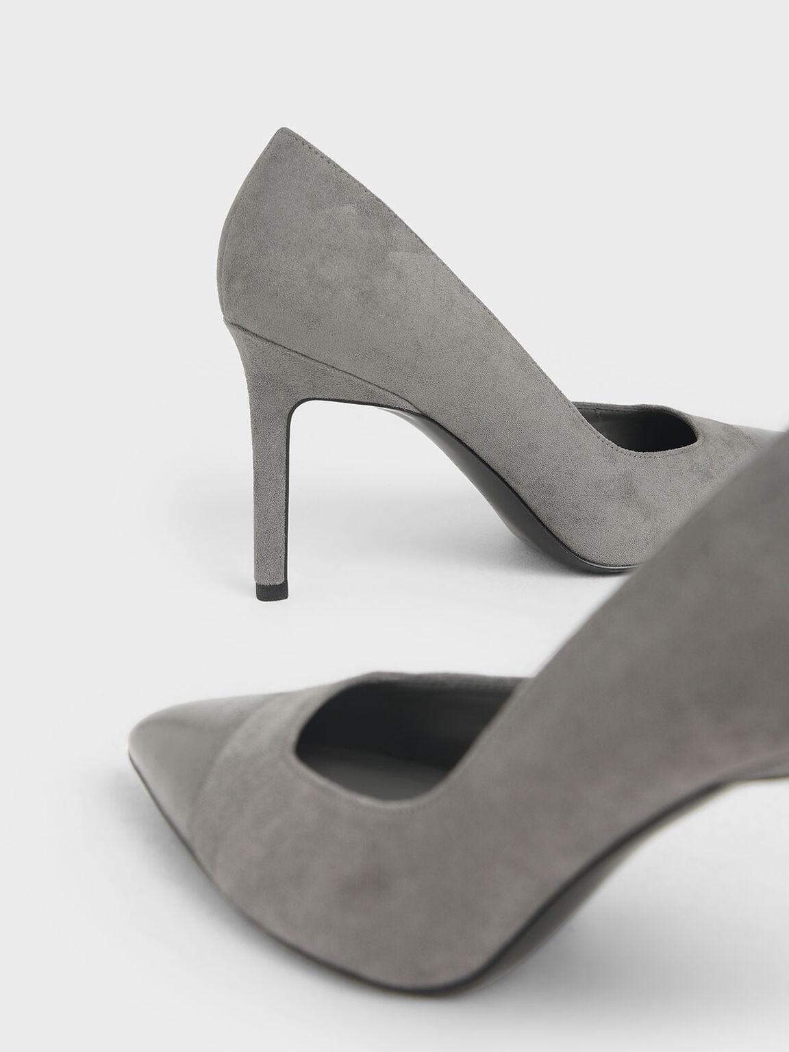 Brushed Effect Stiletto Pumps, Grey, hi-res