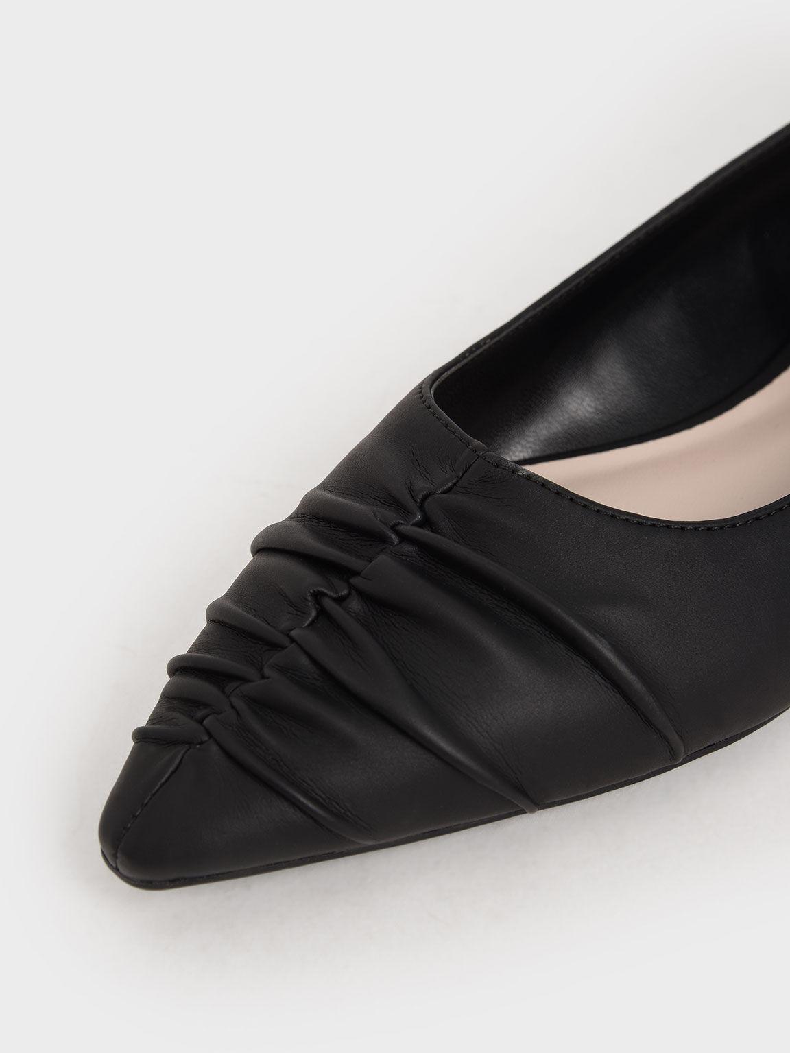 Ruched Ballet Pumps, Black, hi-res
