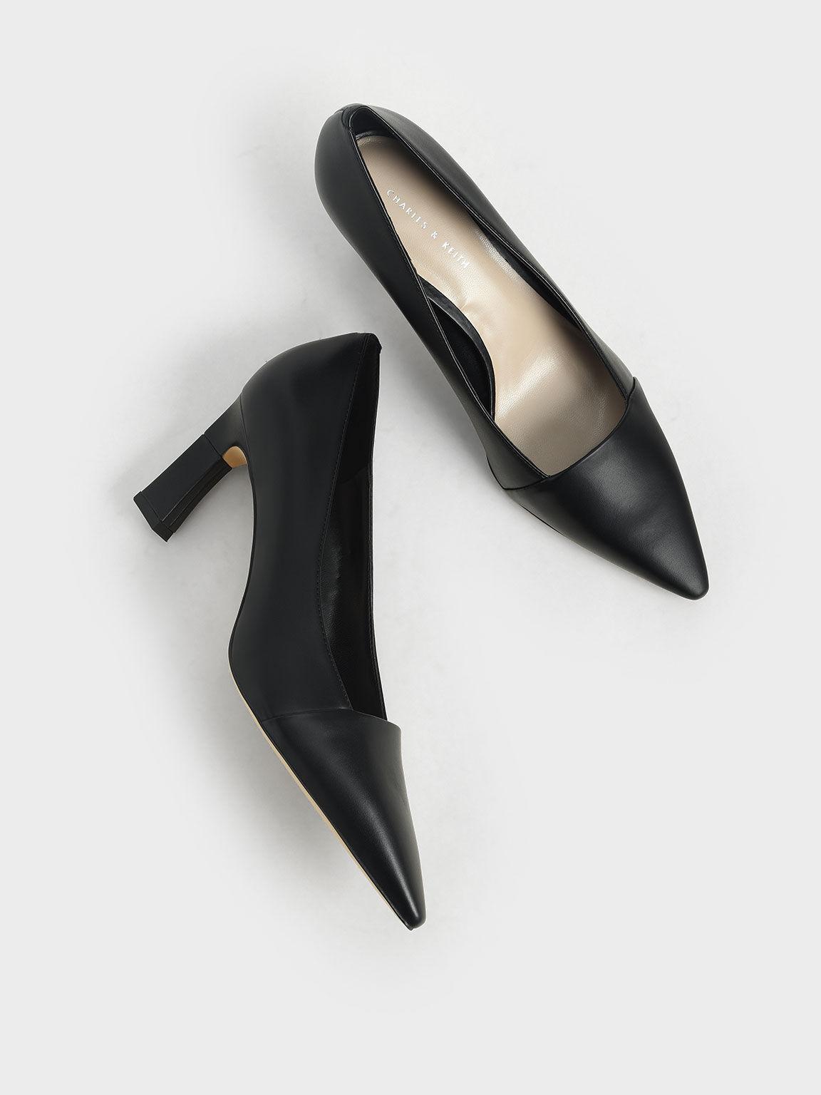 Sculptural Heel Court Shoes, Black, hi-res