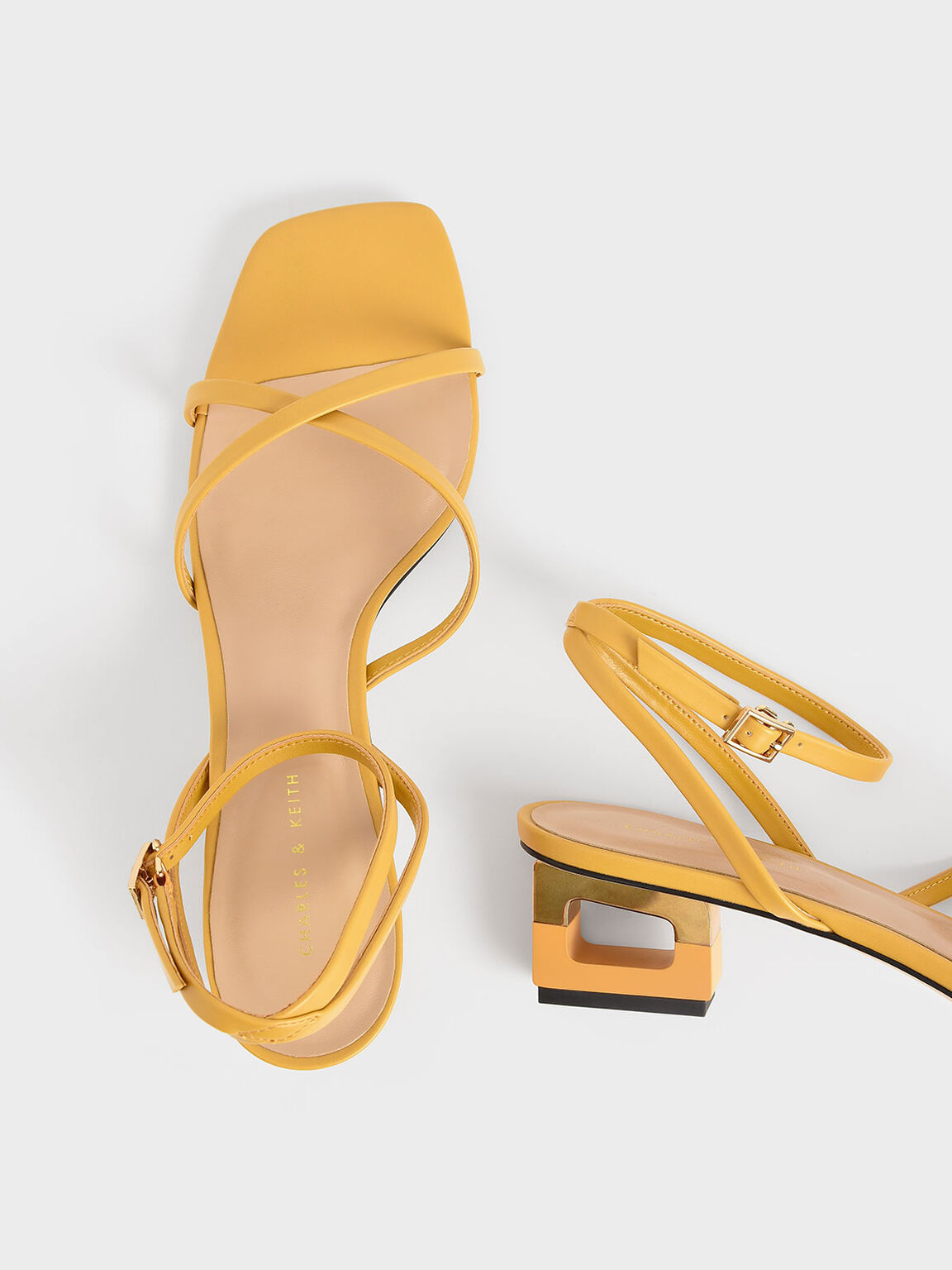 Sculptural Chrome Heel Sandals, Yellow, hi-res