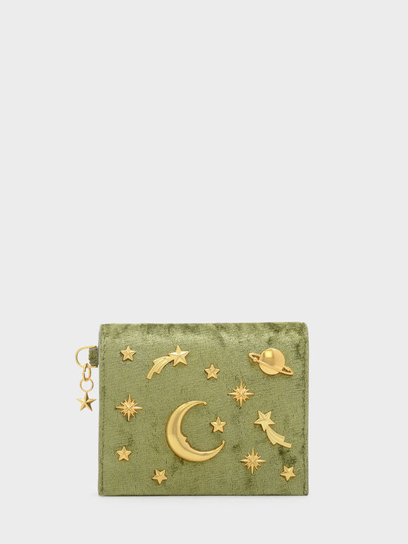 Snap Button Galaxy Embellished Velvet Card Holder, Green, hi-res