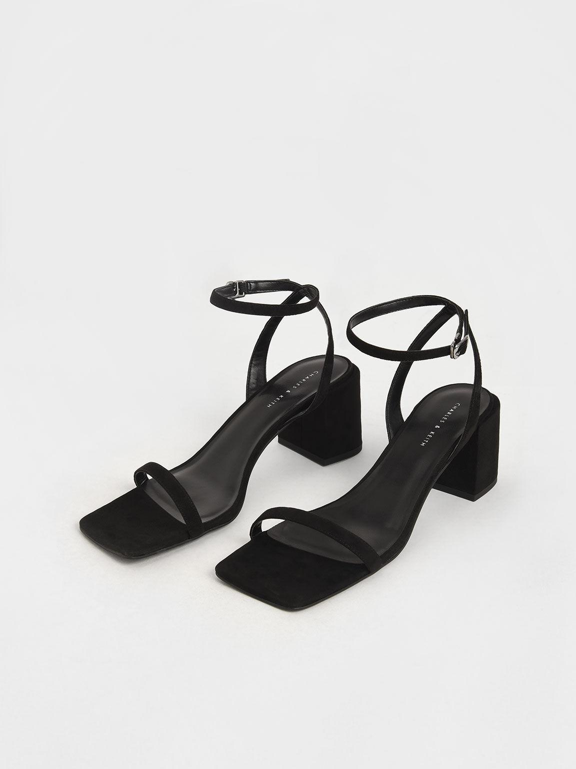 Ankle Strap Block Heel Sandals, Black, hi-res