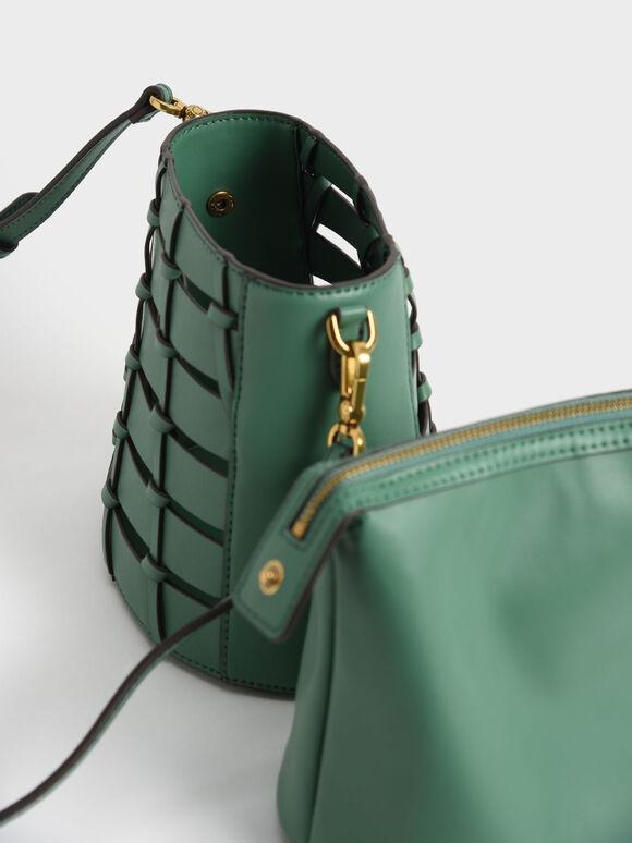 Braided Bucket Bag, Green, hi-res