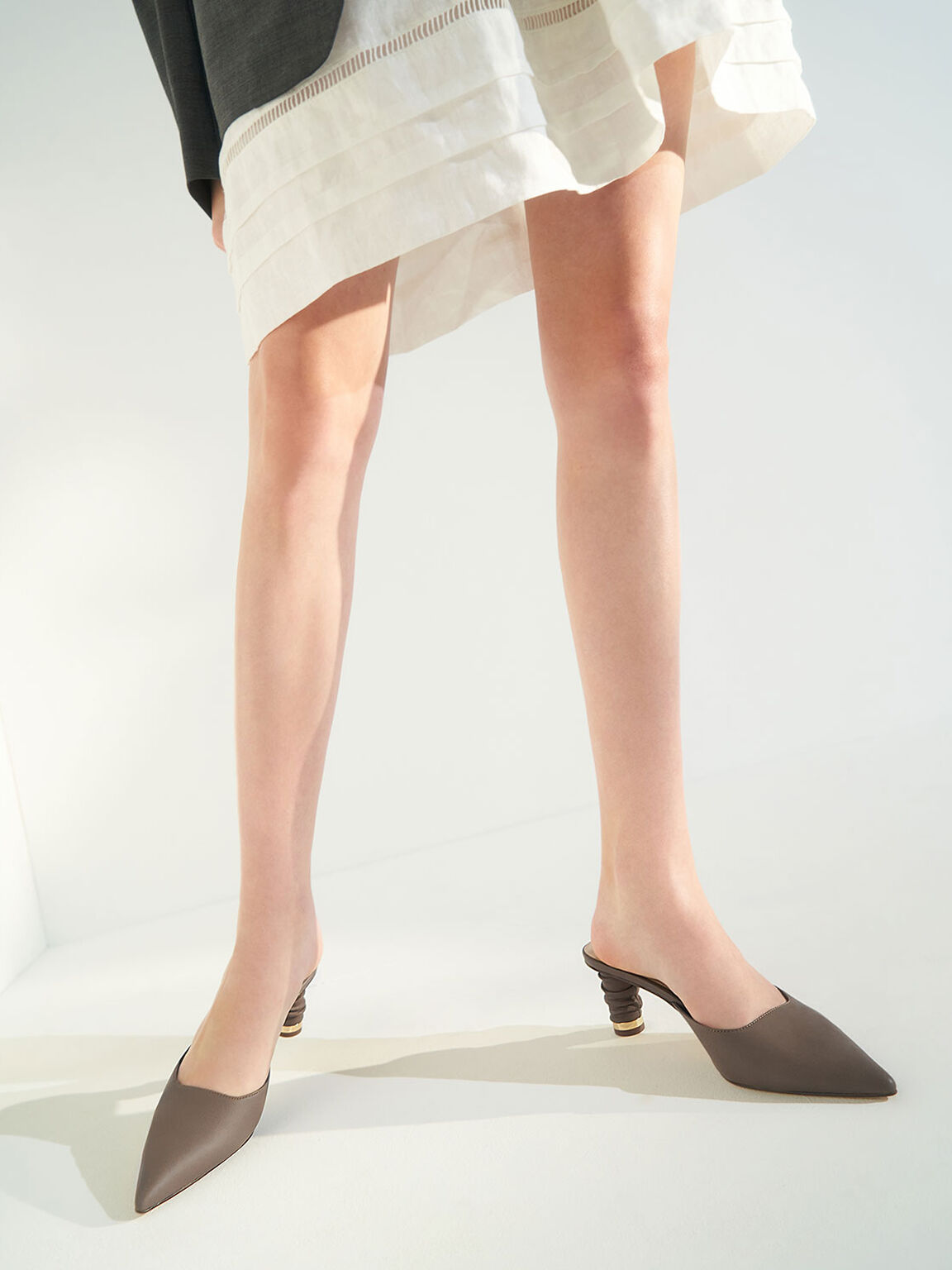 Ruched Cylindrical Heel Mules, Dark Brown, hi-res