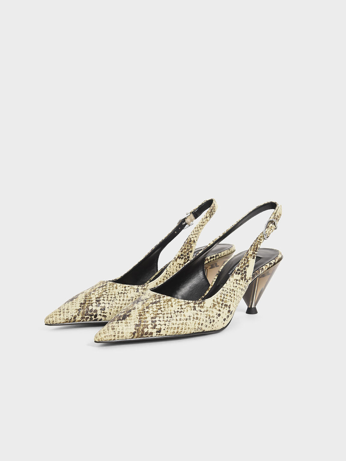 Leather Snake Print Cone Heel Pumps, Multi, hi-res