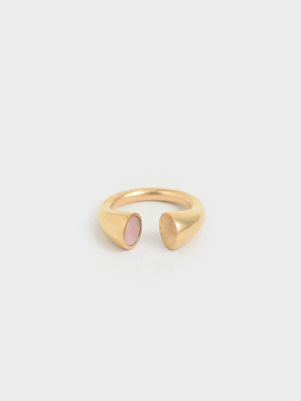 Rose Quartz Open Ring, Gold, hi-res