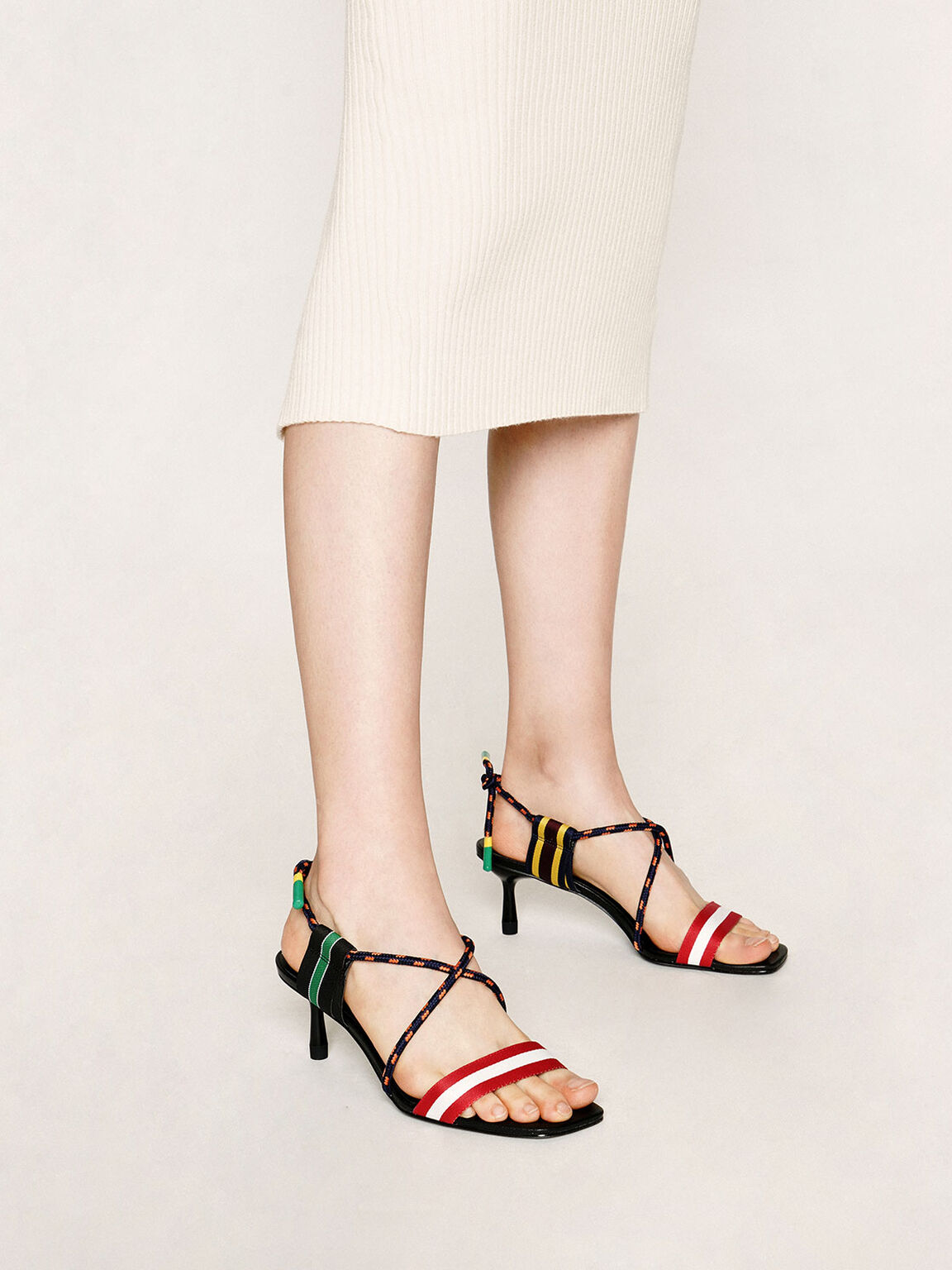 Multicoloured Grosgrain & Rope Strappy Sandals, Multi, hi-res