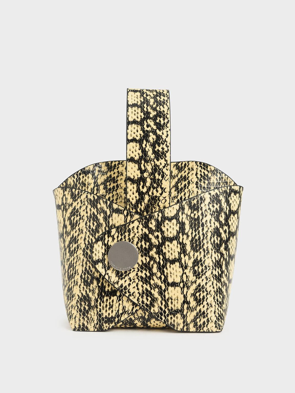 Snake Print Mini Bucket Bag, Yellow, hi-res