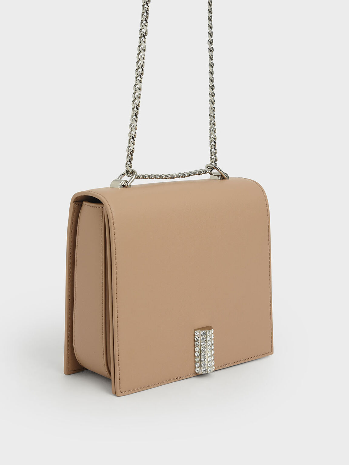 Leather Chain Strap Boxy Bag, Nude, hi-res