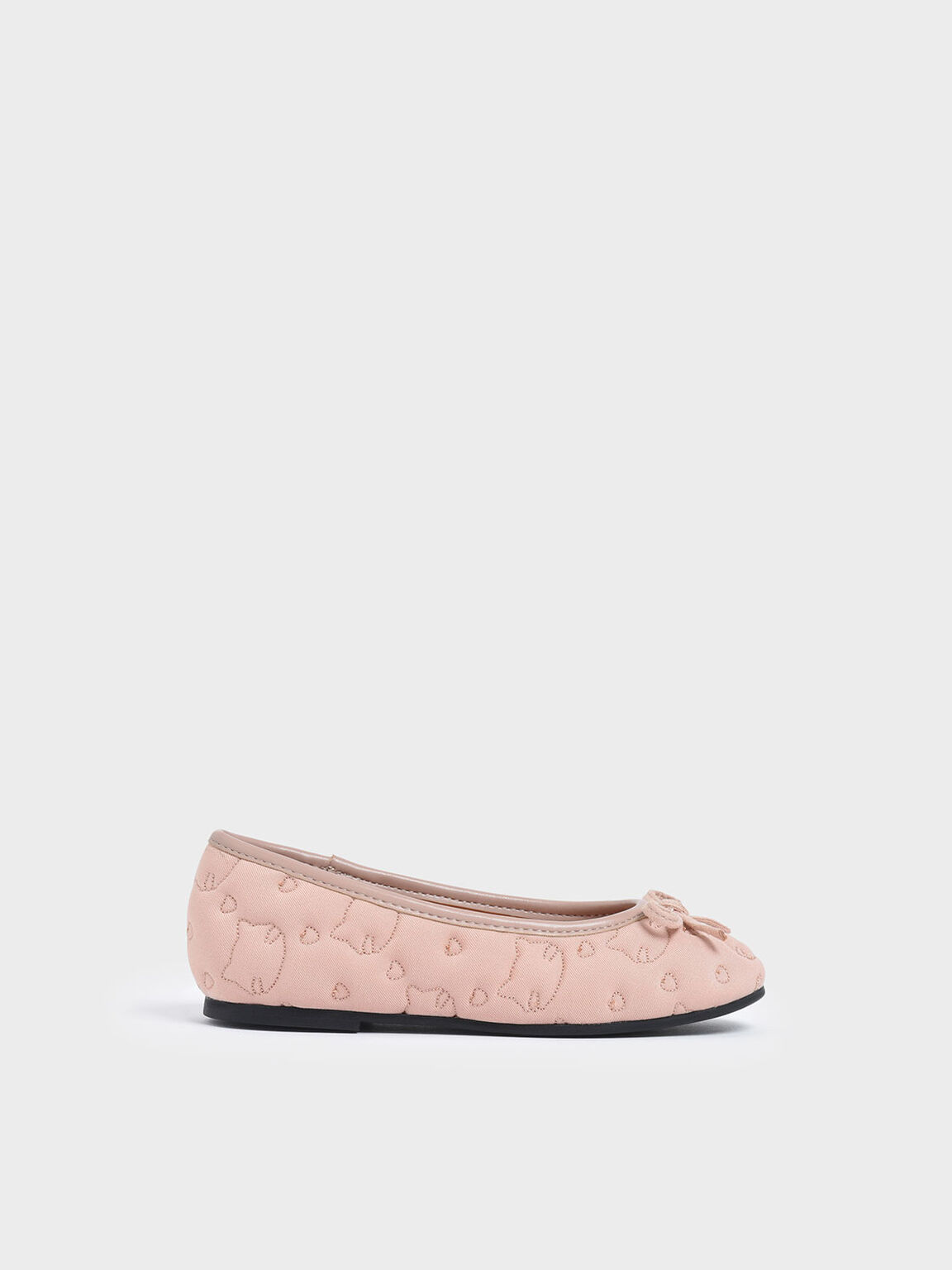 Girls' Cat Print Satin Ballerinas, Pink, hi-res