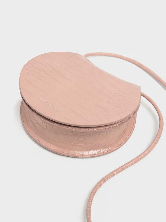 Semi Circle Croc-Effect Crossbody Bag, Pink, hi-res