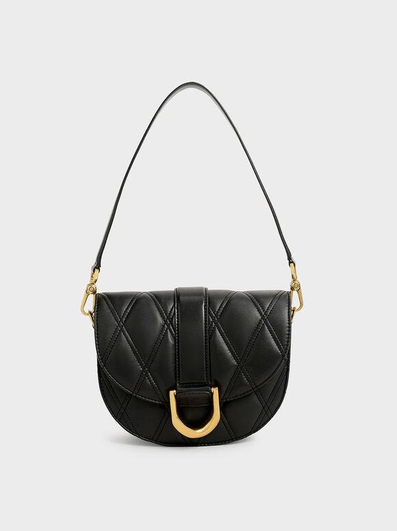 Gabine Quilted Saddle Bag, Black, hi-res