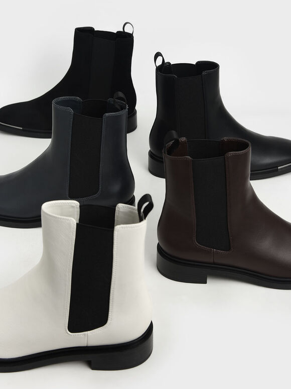 Metal Accent Textured Chelsea Boots, Black Textured, hi-res