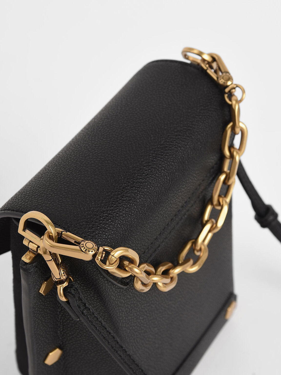 Studded Textured Bag, Black, hi-res