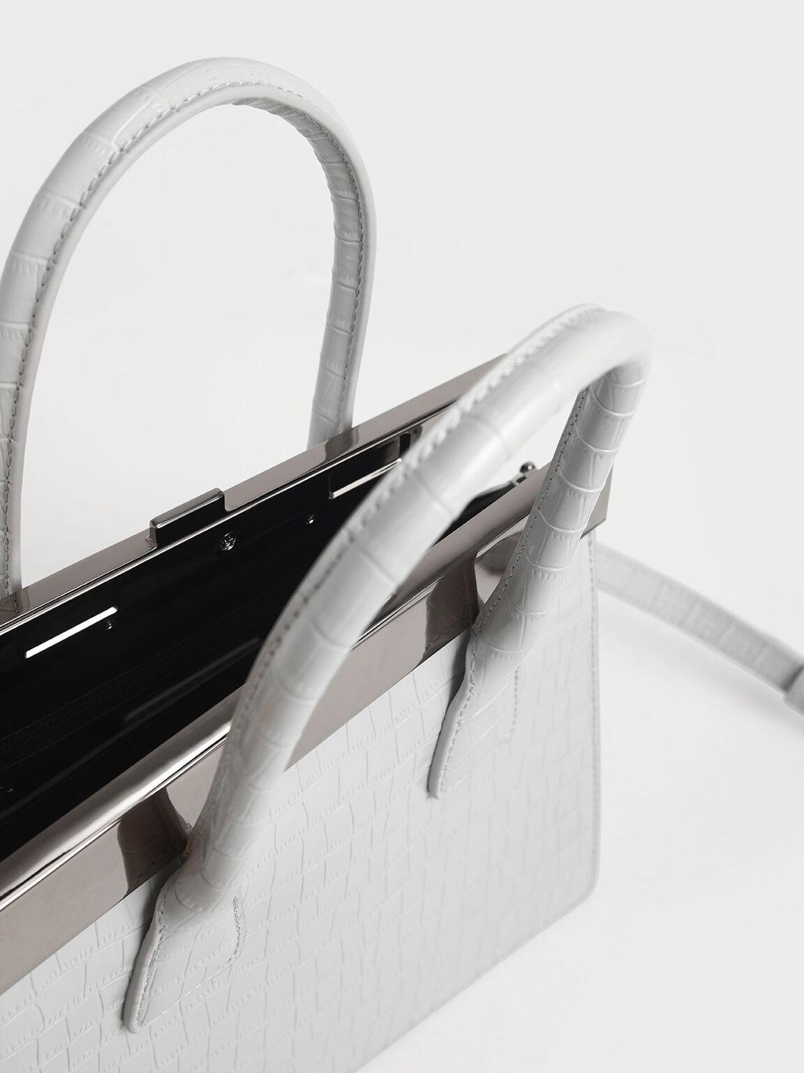 Croc-Effect Leather Top Handle Bag, White, hi-res