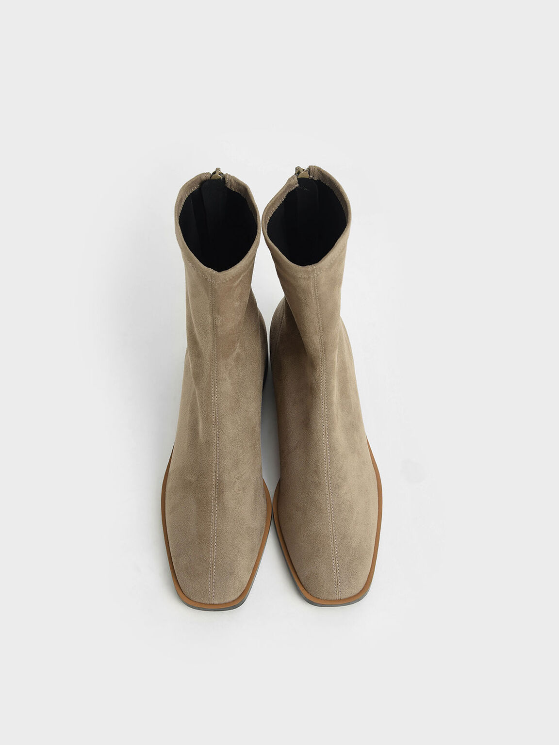 Textured Zip Ankle Boots, Taupe, hi-res