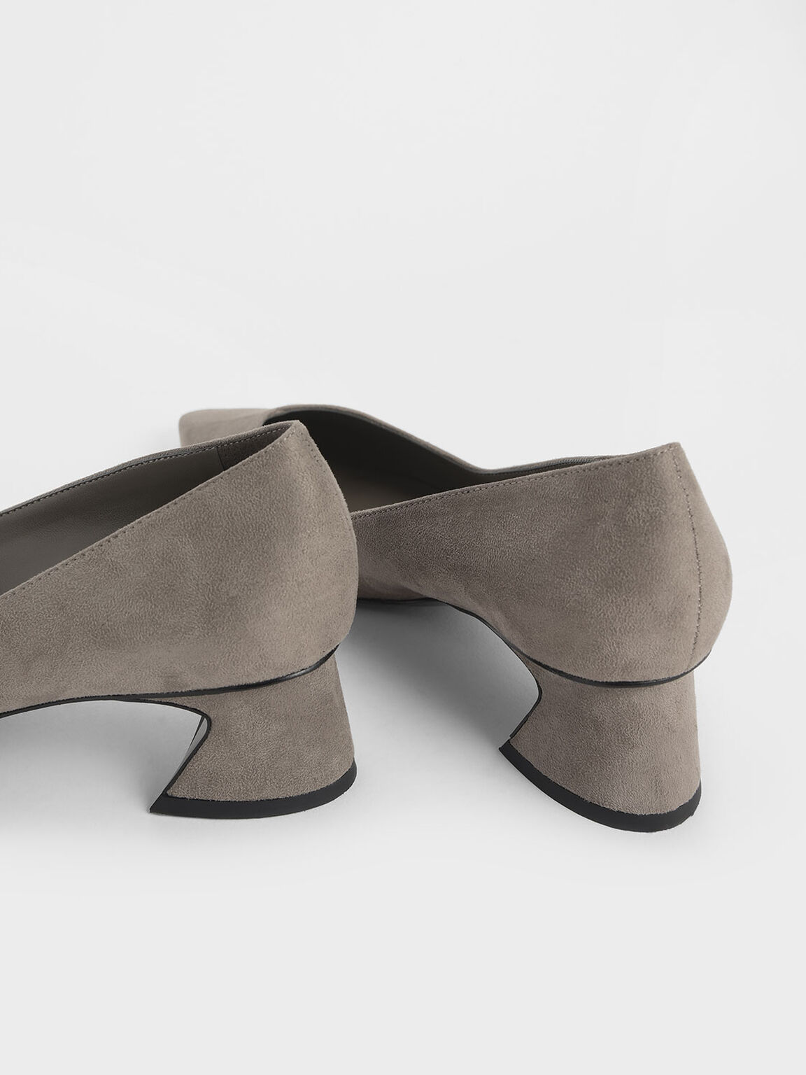 Curved Block Heel Textured Pumps, Taupe, hi-res