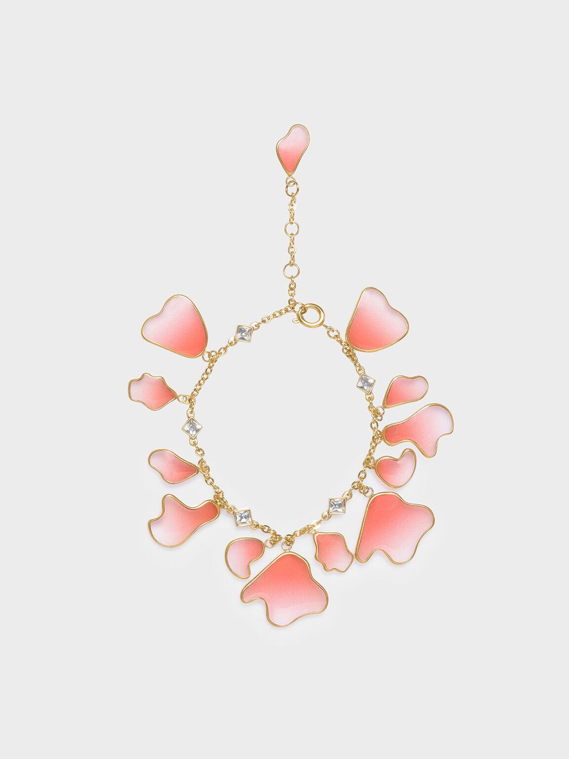 Crystal & Acrylic Petal Bracelet, Pink, hi-res