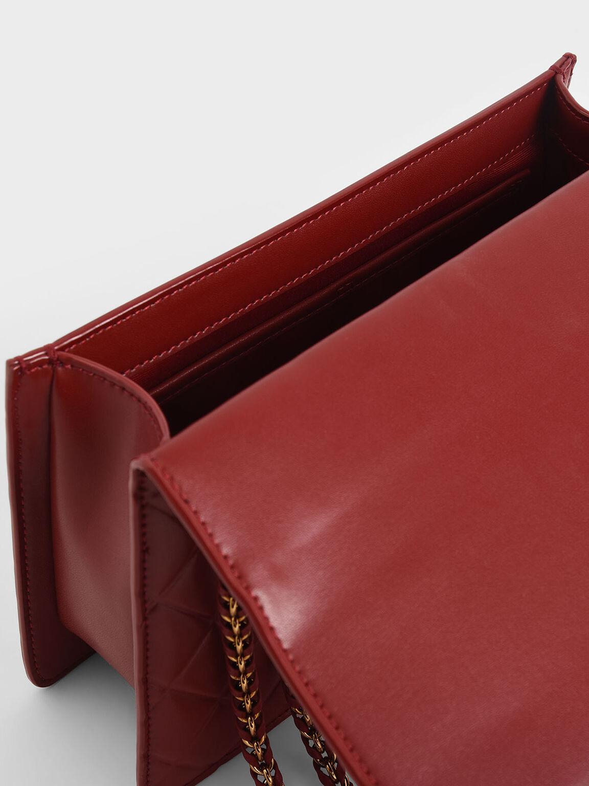 Quilted Shoulder Bag, Red, hi-res