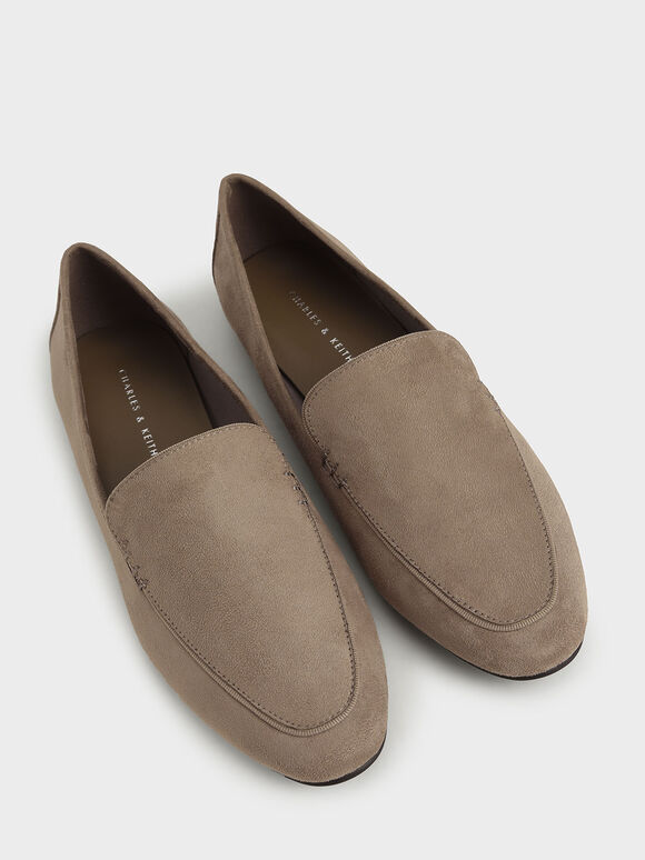 Textured Loafer Flats, Taupe, hi-res