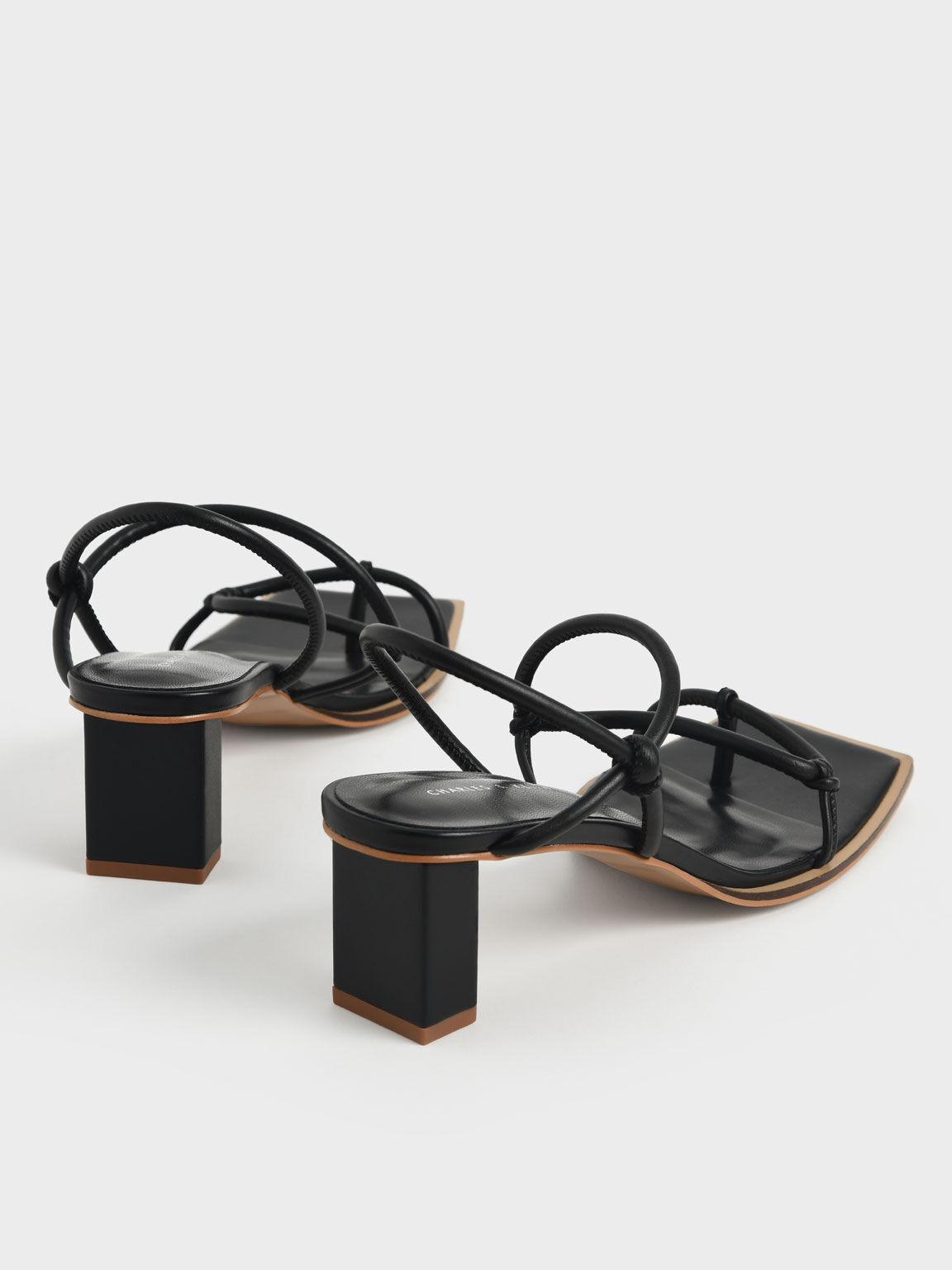 Strappy Toe-Loop Heeled Sandals, Black, hi-res