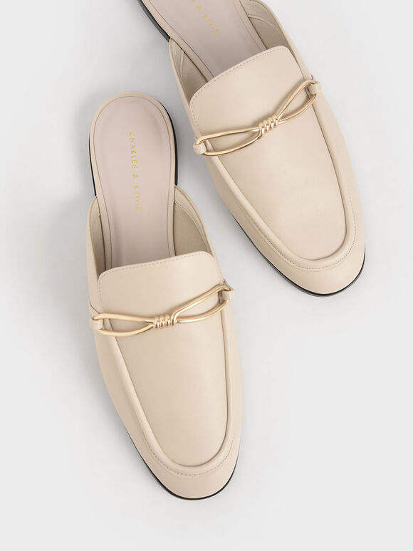 Metallic Accent Loafer Mules, Chalk, hi-res