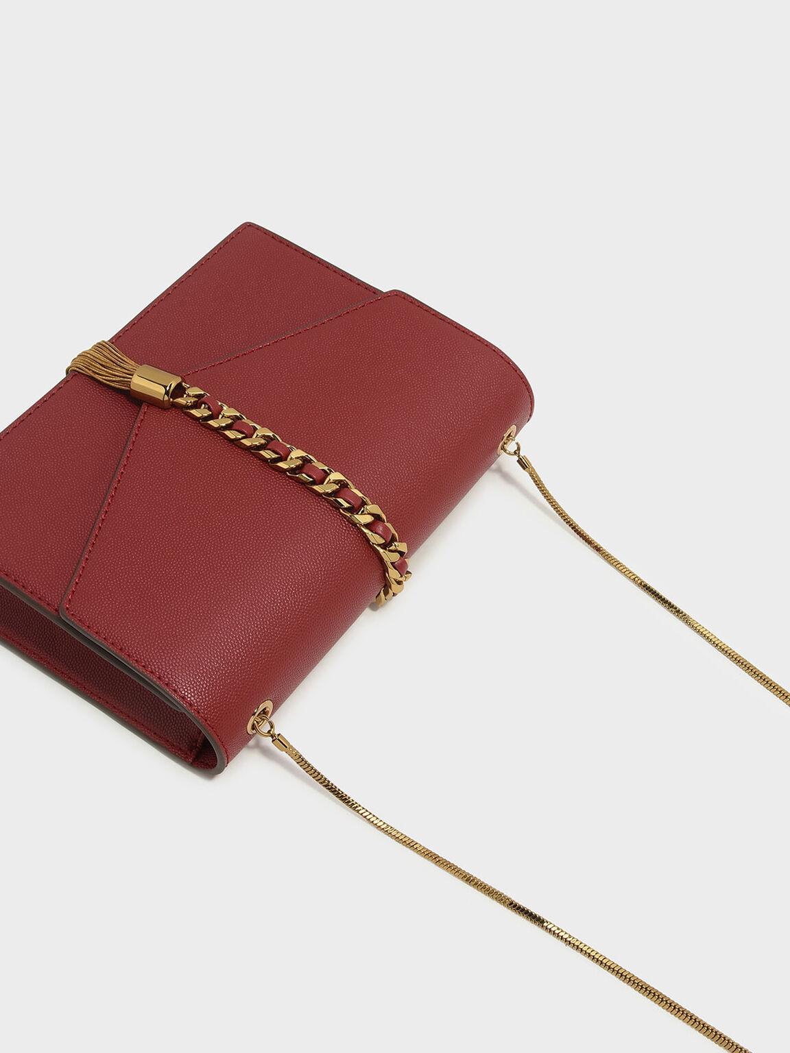Tassel-Detail Envelope Bag, Red, hi-res