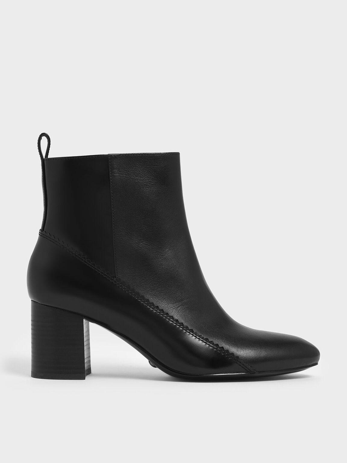 Zigzag Detail Zip-Up Leather Ankle Boots, Black, hi-res