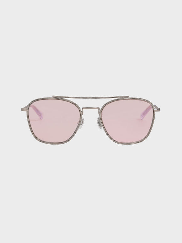 Double Bridge Wireframe Sunglasses, Pink, hi-res