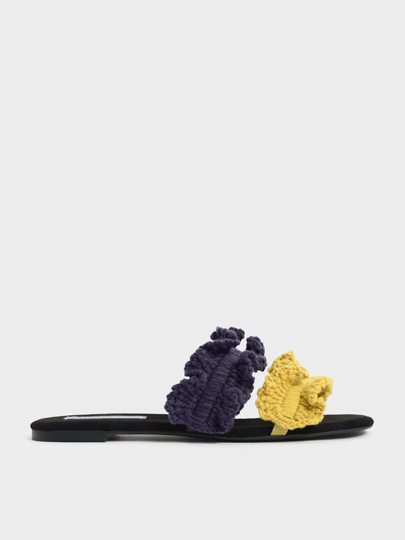 Ruffle Knit Slide Sandals, Multi, hi-res