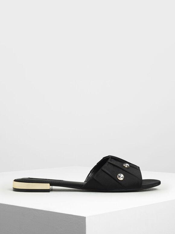 Bejeweled Ruching Slide Sandals, Black, hi-res