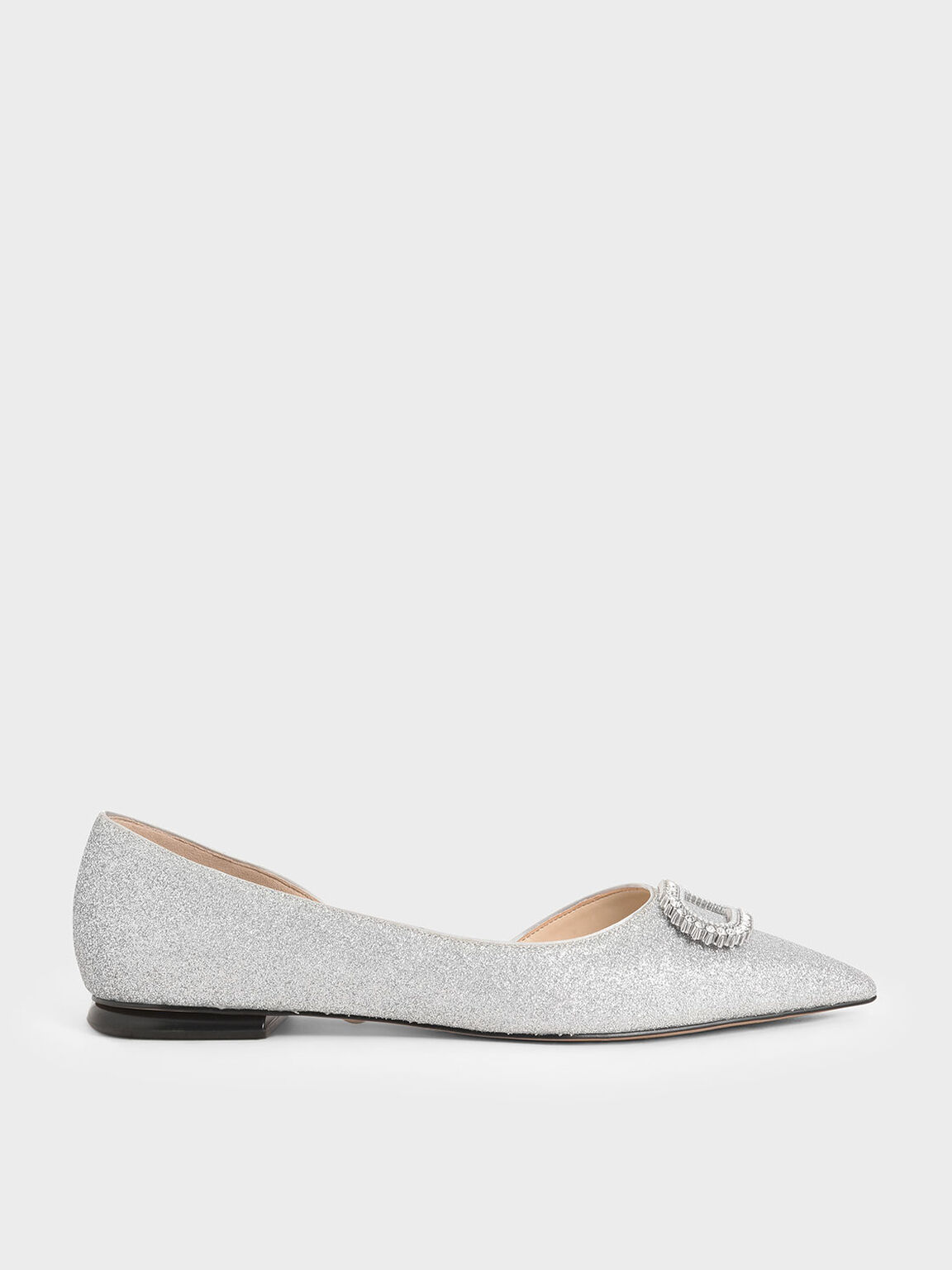 Wedding Collection: Embellished Glitter Ballerina Flats, Silver, hi-res
